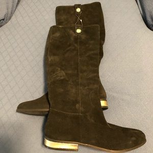 Jack Rogers knee high suede boots with gold heels